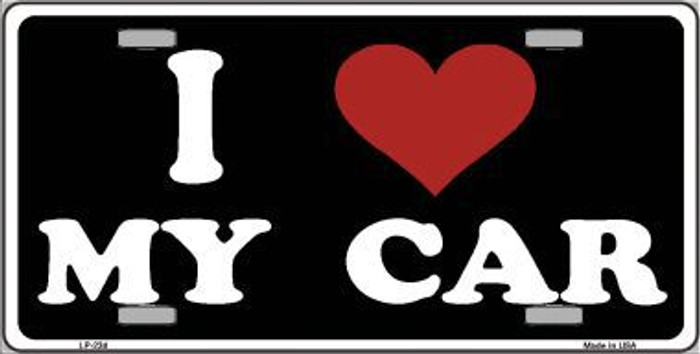 I Love My Car Black Metal Novelty License Plate