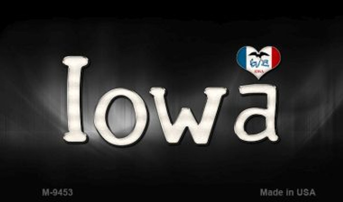 Iowa Flag Script Novelty Metal Magnet