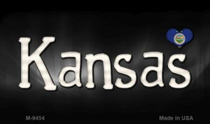 Kansas Flag Script Novelty Metal Magnet