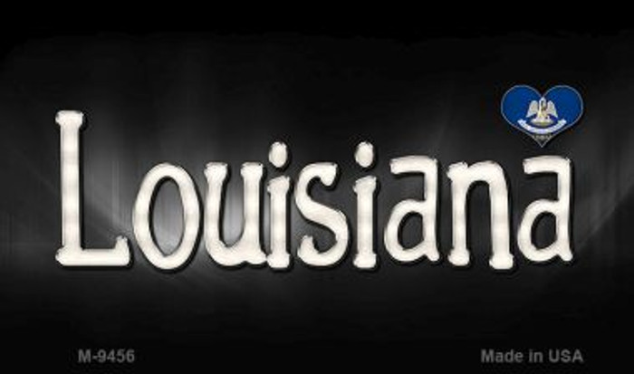 Louisiana Flag Script Novelty Metal Magnet