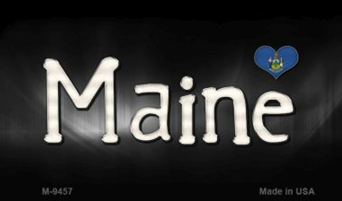 Maine Flag Script Novelty Metal Magnet