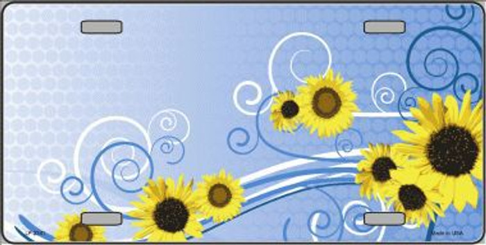 Sunflowers Metal Novelty License Plate Tag LP-2341