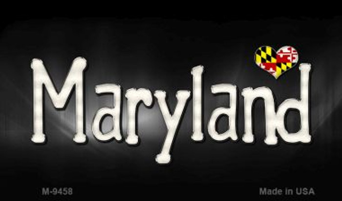Maryland Flag Script Novelty Metal Magnet