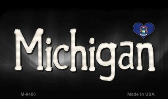 Michigan Flag Script Novelty Metal Magnet