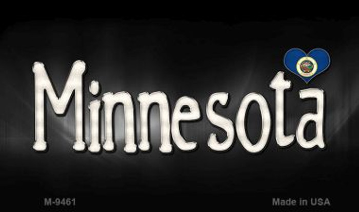 Minnesota Flag Script Novelty Metal Magnet