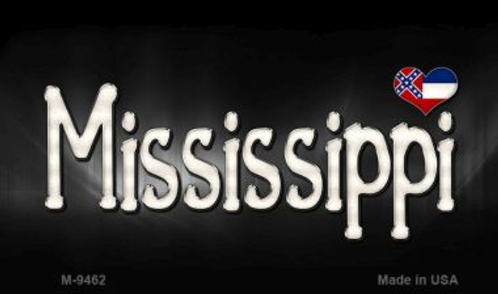 Mississippi Flag Script Novelty Metal Magnet