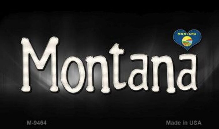 Montana Flag Script Novelty Metal Magnet