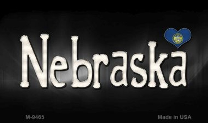 Nebraska Flag Script Novelty Metal Magnet