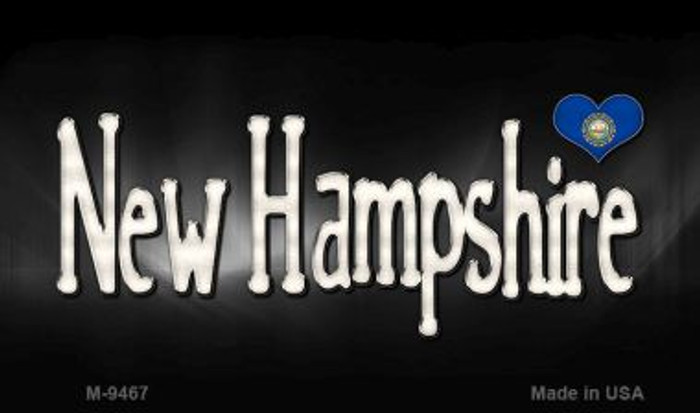 New Hampshire Flag Script Novelty Metal Magnet