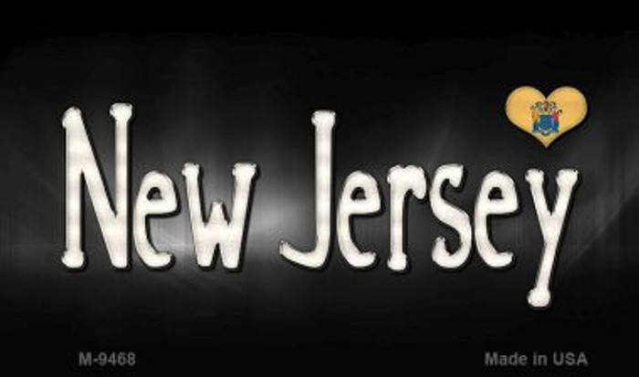 New Jersey Flag Script Novelty Metal Magnet