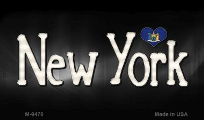 New York Flag Script Novelty Metal Magnet