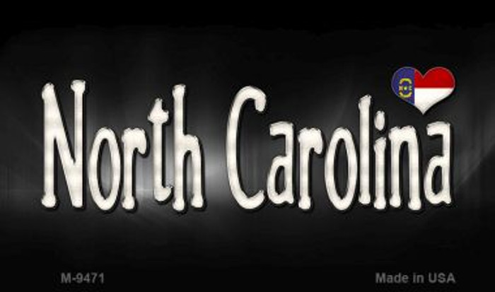 North Carolina Flag Script Novelty Metal Magnet
