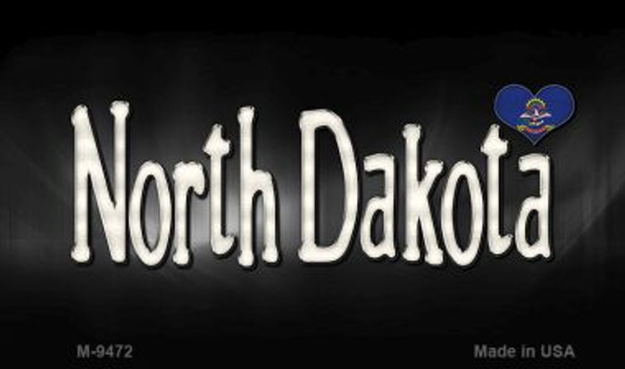 North Dakota Flag Script Novelty Metal Magnet