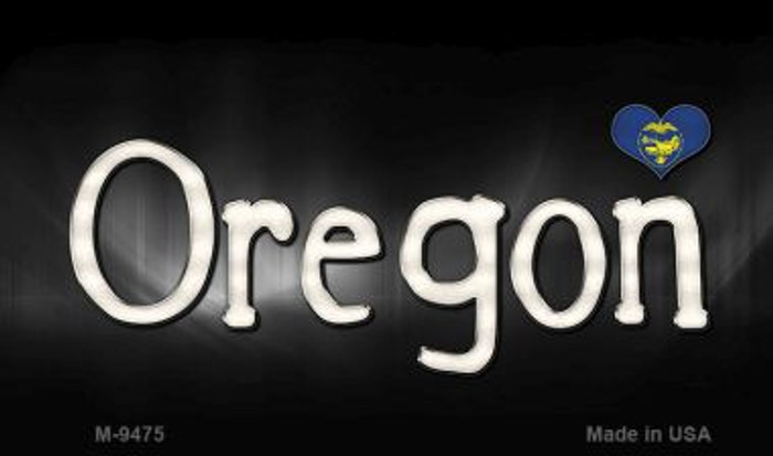 Oregon Flag Script Novelty Metal Magnet