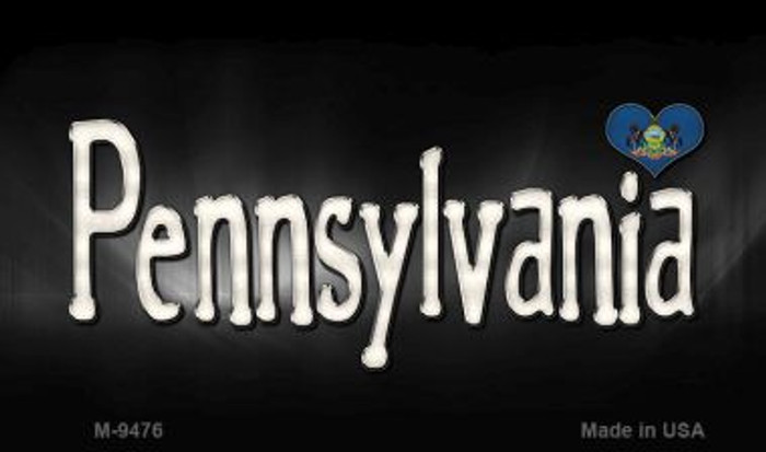 Pennsylvania Flag Script Novelty Metal Magnet