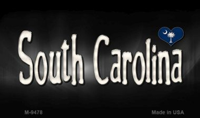 South Carolina Flag Script Novelty Metal Magnet