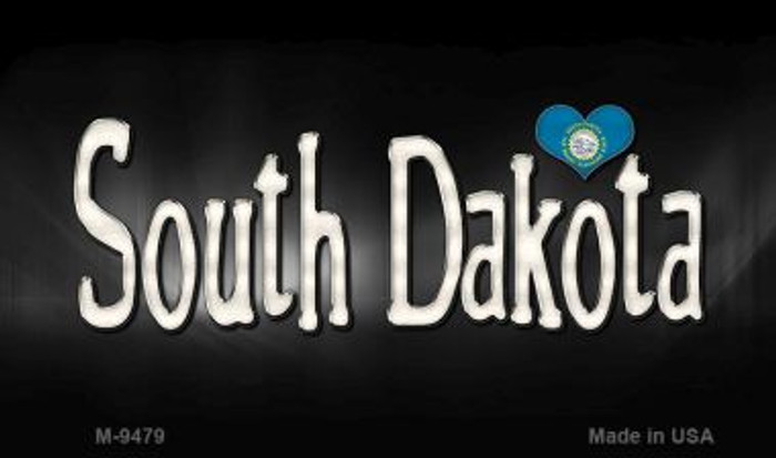 South Dakota Flag Script Novelty Metal Magnet