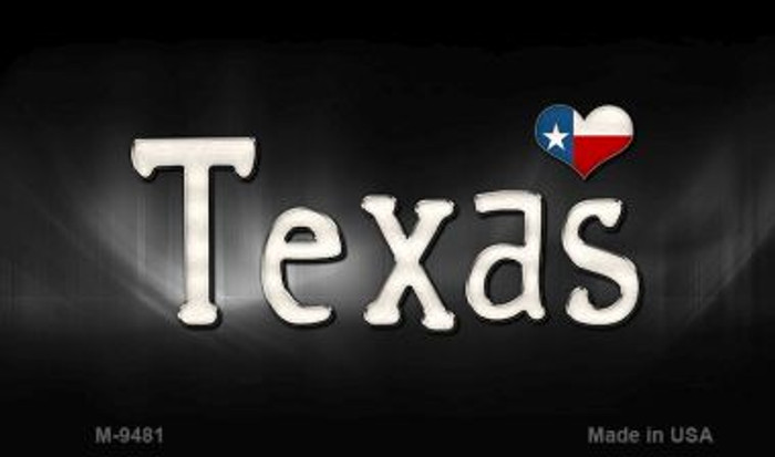 Texas Flag Script Novelty Metal Magnet