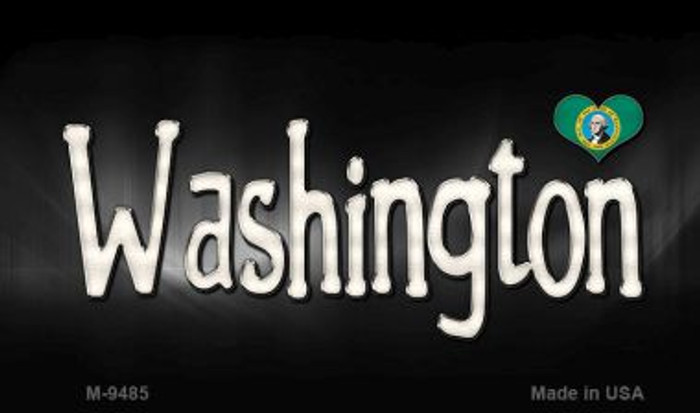 Washington Flag Script Novelty Metal Magnet