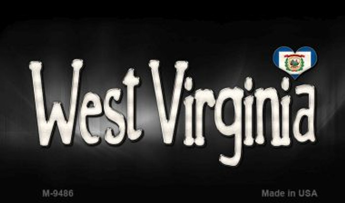 West Virginia Flag Script Novelty Metal Magnet
