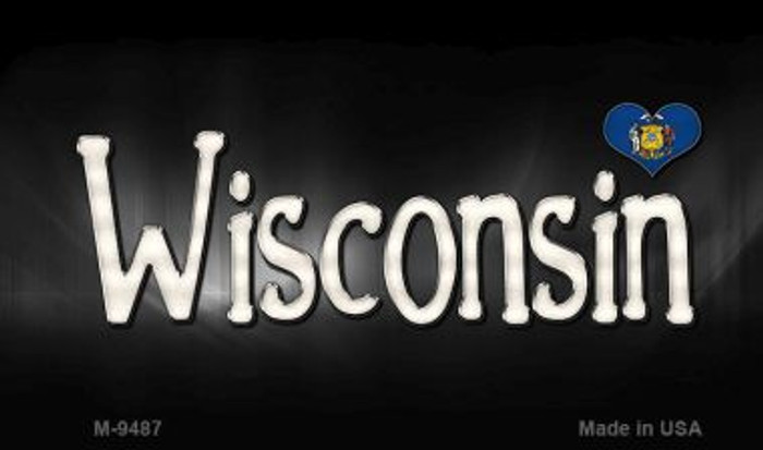 Wisconsin Flag Script Novelty Metal Magnet