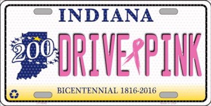 Drive Pink Indiana Novelty Metal License Plate