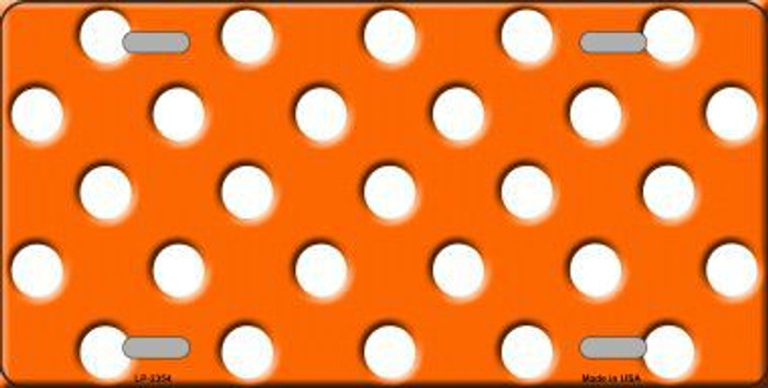 White Polka Dots Orange Background Metal Novelty License Plate