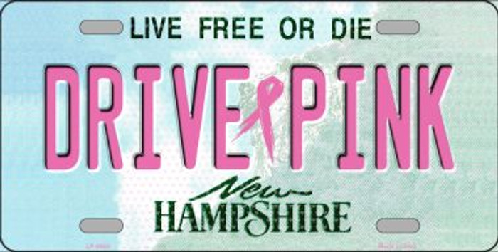 Drive Pink New Hampshire Novelty Metal License Plate