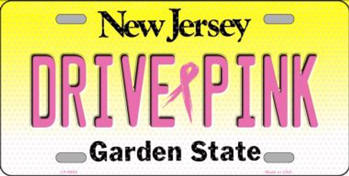 Drive Pink New Jersey Novelty Metal License Plate
