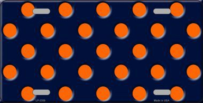 Orange Polka Dots Navy Blue Background Metal Novelty License Plate
