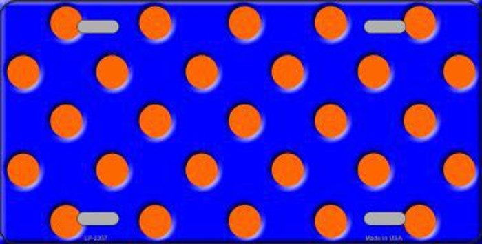 Orange Polka Dots Royal Blue Background Metal Novelty License Plate