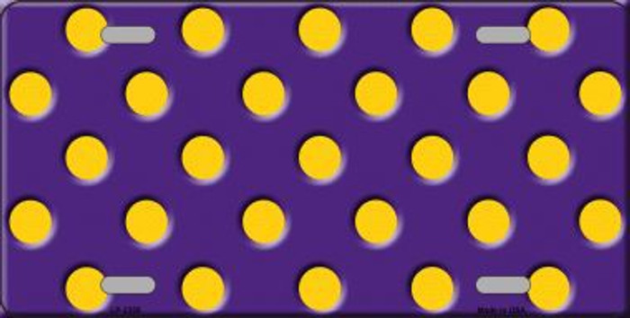 Yellow Polka Dots Purple Metal Novelty License Plate