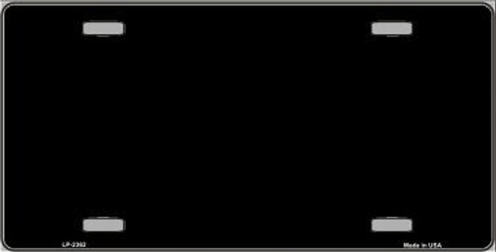 Black Solid Background Metal Novelty License Plate