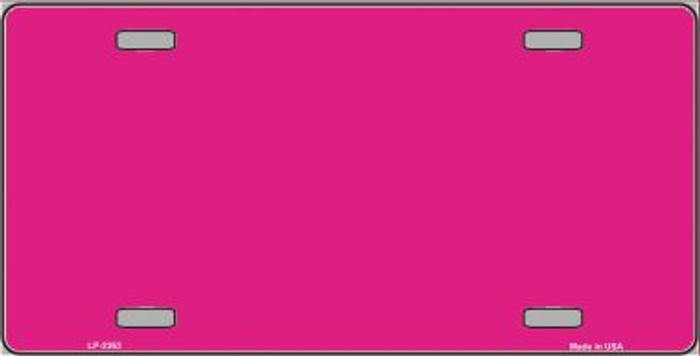 Pink Solid Background Metal Novelty License Plate