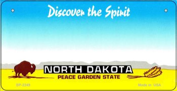 North Dakota Novelty State Background Bicycle License Plate