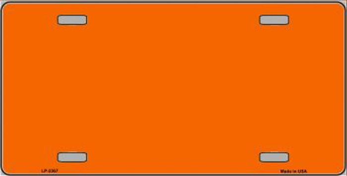 Orange Solid Background Metal Novelty License Plate