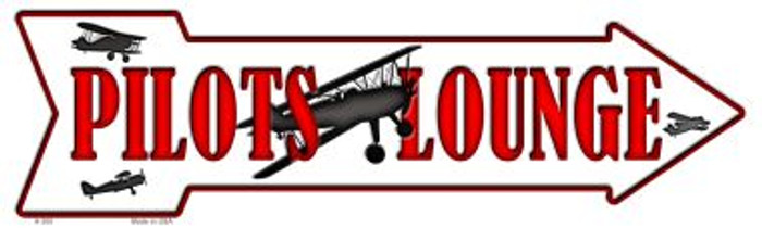 Pilots Lounge Novelty Metal Arrow Sign