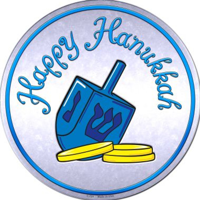 Happy Hanukkah Dreidel Novelty Metal Circular Sign