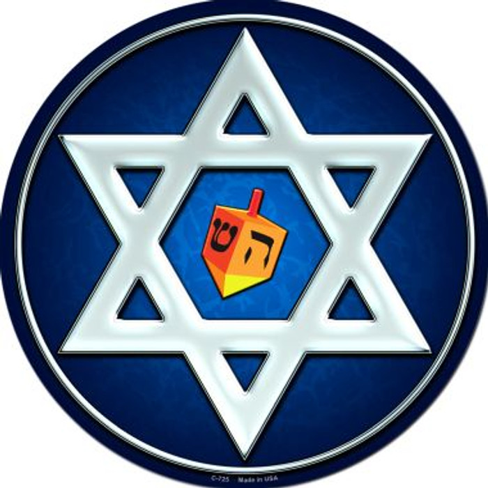 Hanukkah Star And Dreidel Novelty Metal Circular Sign
