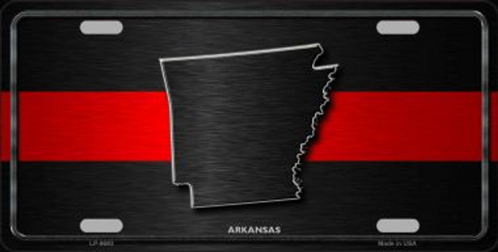 Arkansas Thin Red Line Novelty Metal License Plate