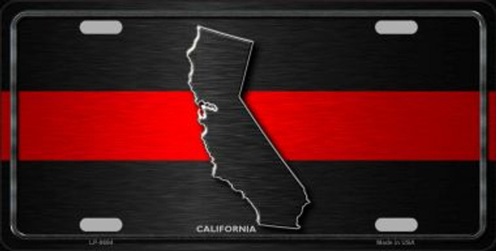 California Thin Red Line Novelty Metal License Plate
