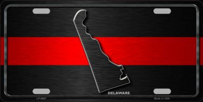 Delaware Thin Red Line Novelty Metal License Plate