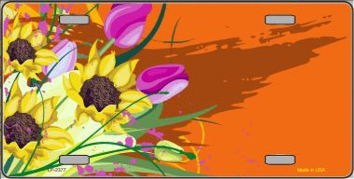 Floral Bouquet Offset Metal Novelty License Plate