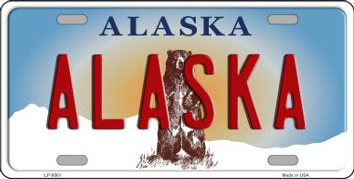 Alaska State Background Novelty Metal License Plate
