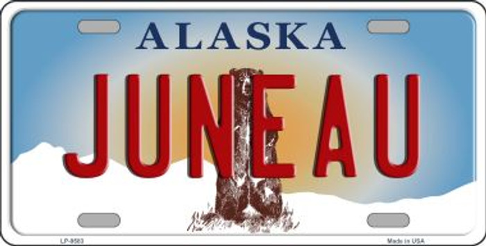 Juneau Alaska State Background Novelty Metal License Plate