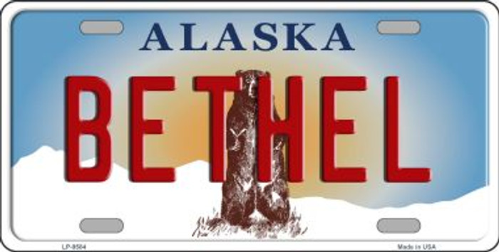 Bethel Alaska State Background Novelty Metal License Plate