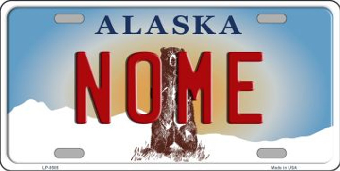Nome Alaska State Background Novelty Metal License Plate