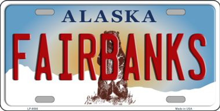 Fairbanks Alaska State Background Novelty Metal License Plate