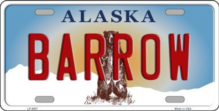 Barrow Alaska State Background Novelty Metal License Plate