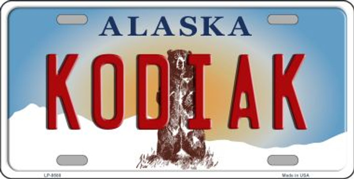 Kodiak Alaska State Background Novelty Metal License Plate